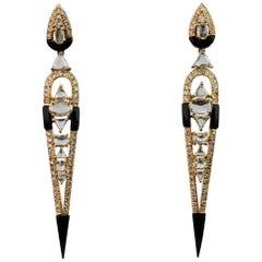 Diamant und Onyx 18 Karat Ohrhänger