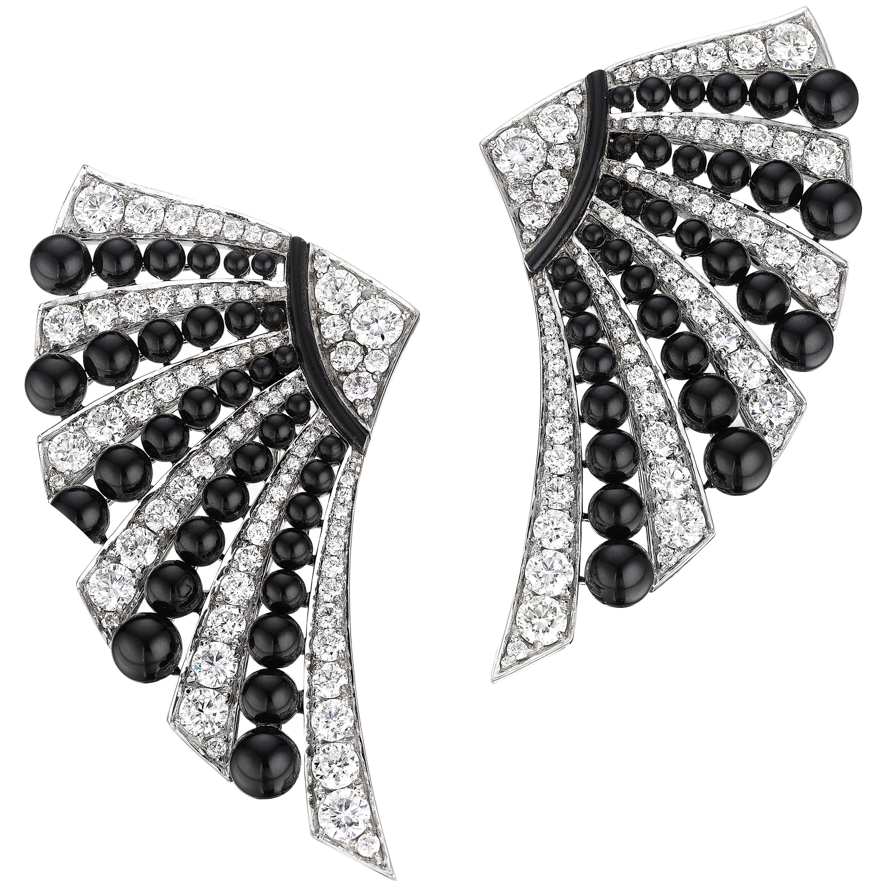 Siegelson Diamond Onyx White Gold Fan Earrings