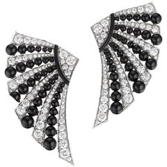 Siegelson Diamond Onyx White Gold Fan Earrings