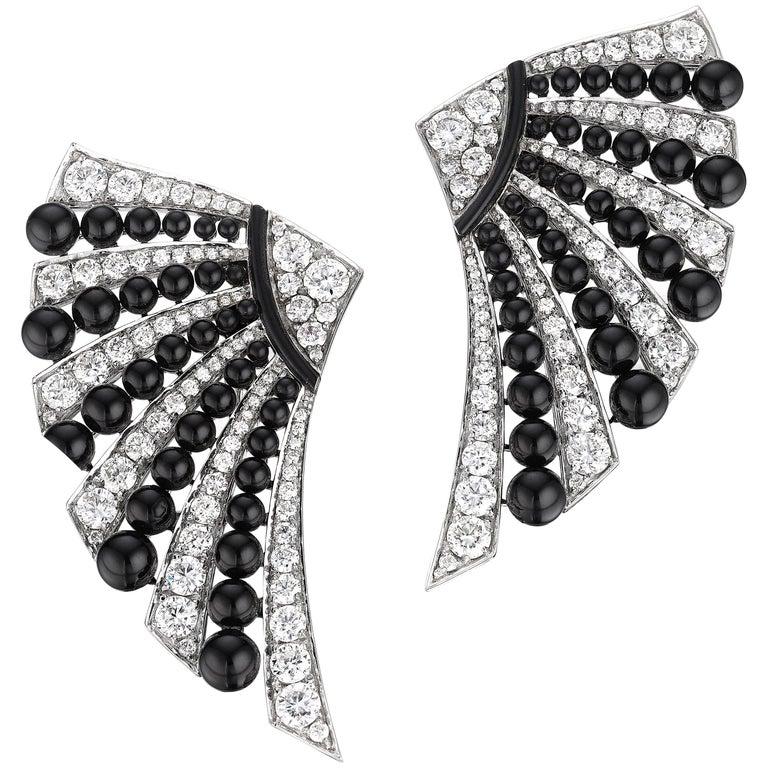 Siegelson diamond, onyx and white gold fan earrings, 2019