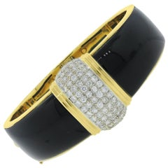 Diamond and Onyx Inlay Bangle