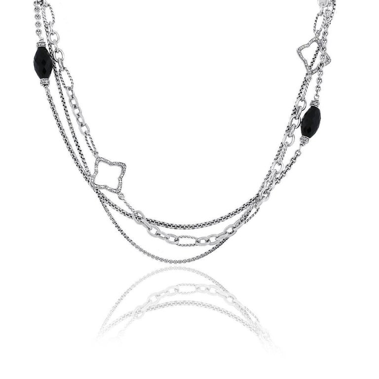 Brand: David Yurman Material: Sterling Silver Diamond Details: Diamonds are G/H in color and VS in clarity. Clasp: Toggle Measurements: 32″ in length Total Weight: 66.4g (42.7dwt) SKU: G7370