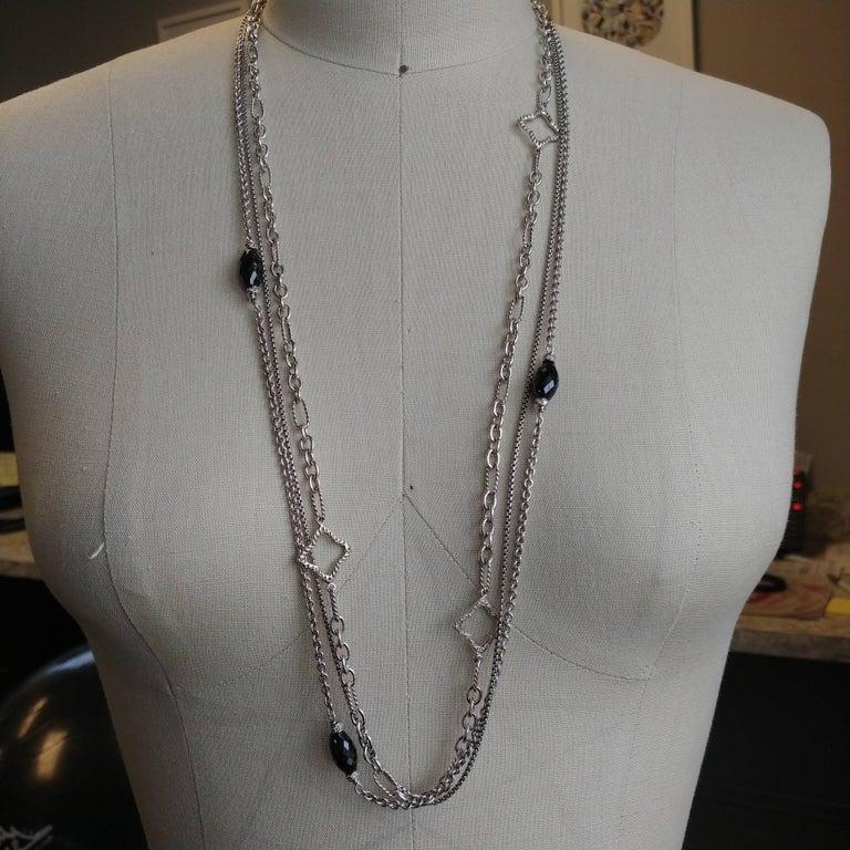 Women's Diamond and Onyx Quatrefoil Multi Strand Necklace For Sale