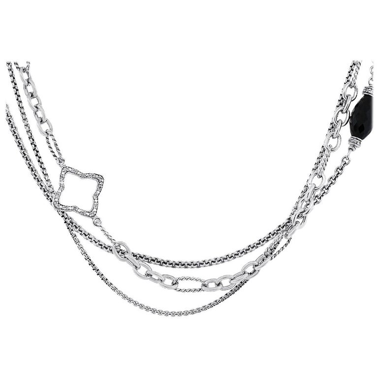 Diamond and Onyx Quatrefoil Multi Strand Necklace For Sale