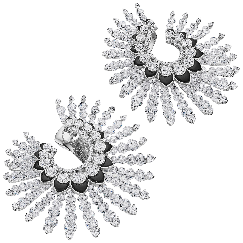 Siegelson Diamond Onyx White Gold Spiral Hoop Earrings