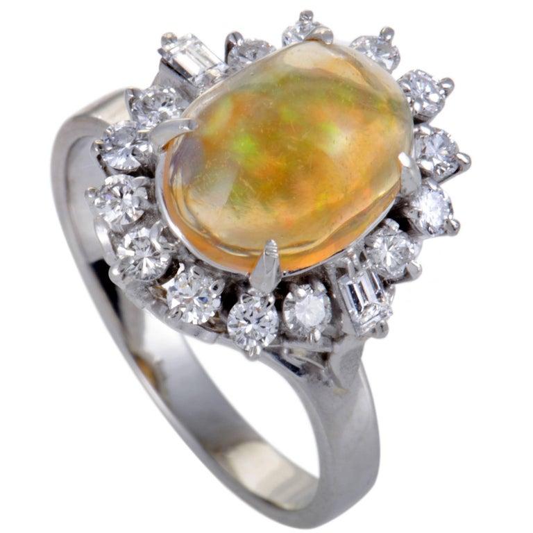 Diamond and Opal Cabochon Platinum Ring