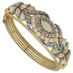 Diamond and Opal Gemstone Bangle
