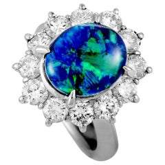 Diamond and Opal Platinum Oval Ring