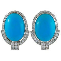 Contemporary Turquoise Diamond Deco-Revival Earrings