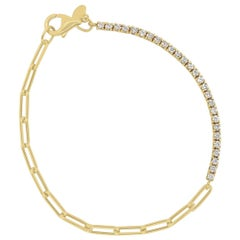 Diamond and Paperclip Link Half Tennis Eternity Bracelet 14K Yellow Gold