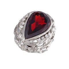 Diamond and Pear Shaped Garnet Platinum Cocktail Ring