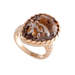 Diamond and Pear Shaped Smoky Topaz Gold Ring