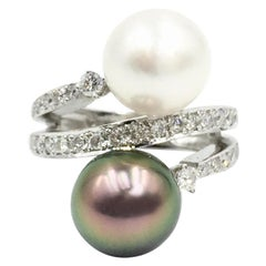 Diamond and Pearl 18 Karat White Gold Bypass Style Ring