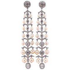 Diamond and Pearl 18 Karat White Gold Earrings