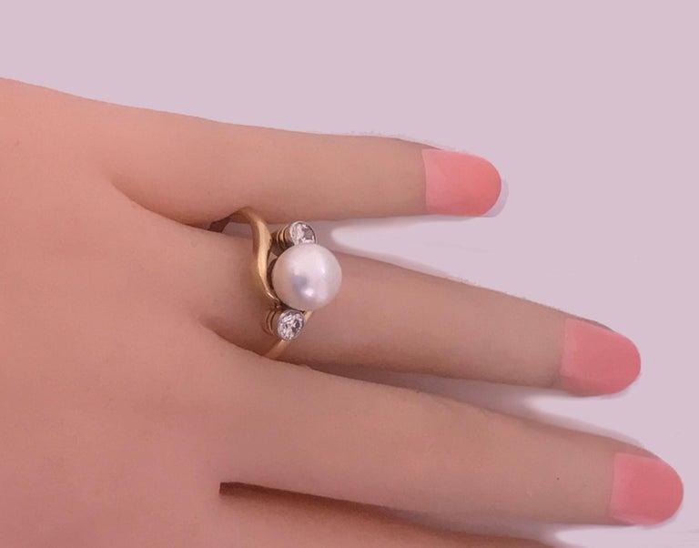 Women's Diamond and Pearl 18 Karat Ring, circa 1920 For Sale