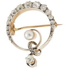 Diamond and Pearl Brooch