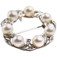 Diamond and Pearl Circle Pin 14 Karat White Gold