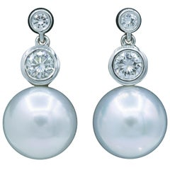 Diamond and Pearl Drop Earrings, 0.92 Carat