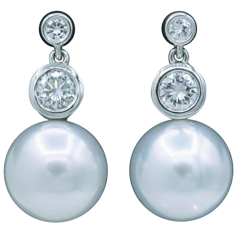 Diamond and Pearl Drop Earrings, 0.92 Carat For Sale