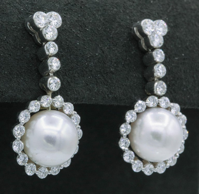 Contemporary Diamond and Pearl Drop Earrings, 1.55 Carat For Sale