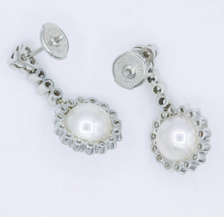 Diamond and Pearl Drop Earrings, 1.55 Carat In New Condition For Sale In New York, NY