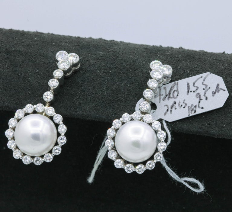 Women's Diamond and Pearl Drop Earrings, 1.55 Carat For Sale