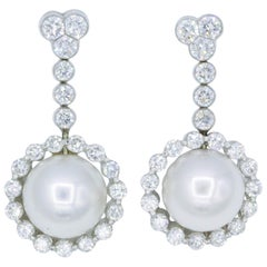 Diamond and Pearl Drop Earrings, 1.55 Carat