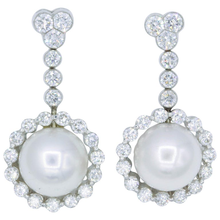 Diamond and Pearl Drop Earrings, 1.55 Carat For Sale