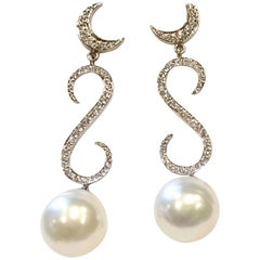 18 Carat White Gold Diamond and South Sea Pearl Earrings