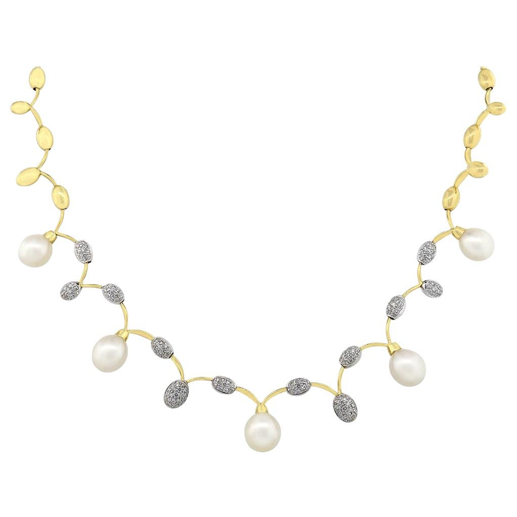 Diamond and Pearl End Drop Necklace