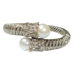 Diamond and Pearl Flexible Bangle in 18 Karat White Gold
