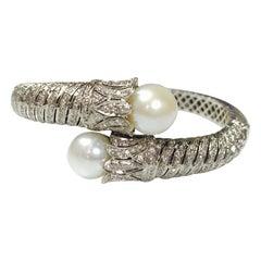 Diamond and Pearl Flexible Bangle in 18 Karat White Gold
