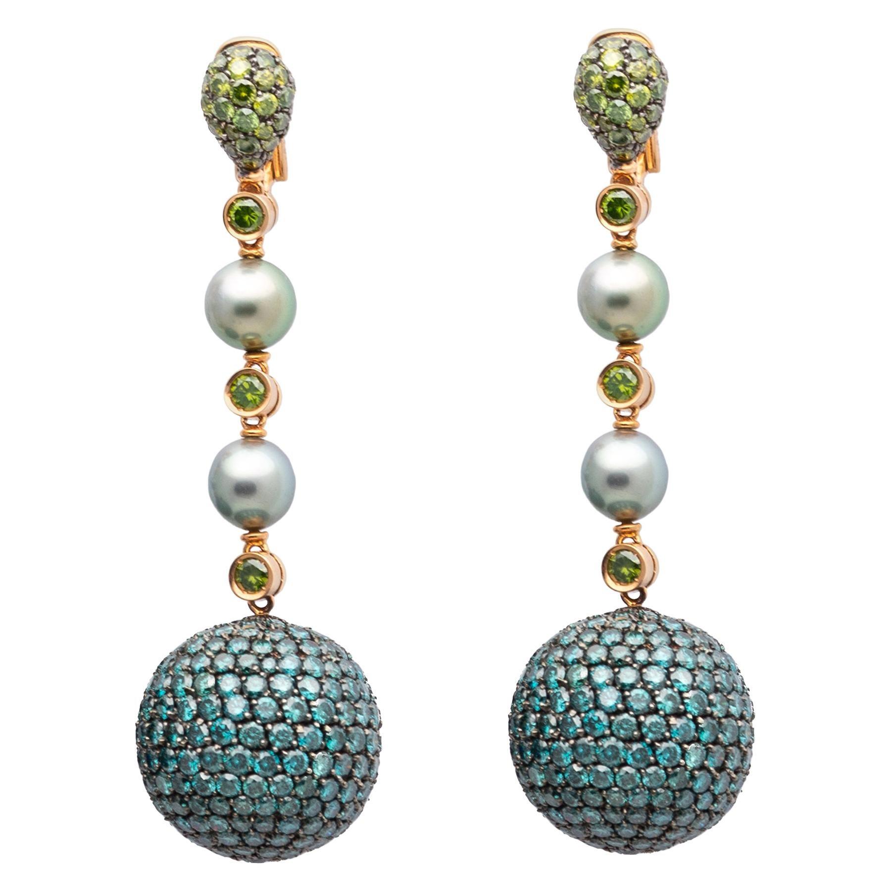 Diamond and Pearl Gold Ear Pendants