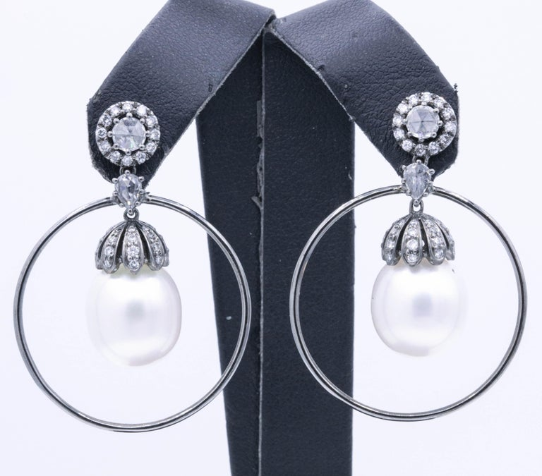 Contemporary Diamond and Pearl Hoop Earrings 1.58 Carat 18K White Gold For Sale