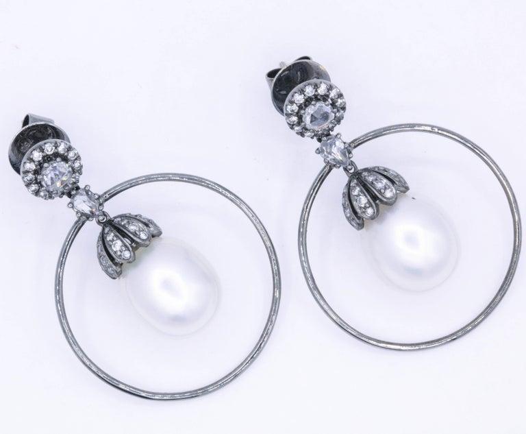 Women's Diamond and Pearl Hoop Earrings 1.58 Carat 18K White Gold For Sale