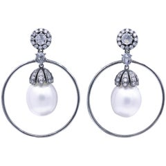 Diamond and Pearl Hoop Earrings 1.58 Carat 18K White Gold