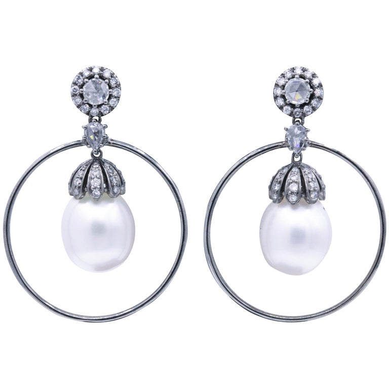 Diamond and Pearl Hoop Earrings 1.58 Carat 18K White Gold For Sale