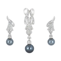 Diamond and Pearl Jewellery Suite Pendant and Earring Set