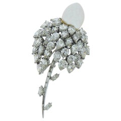 Diamond and Pearl Platinum Brooch or Pendant by E.Pearl