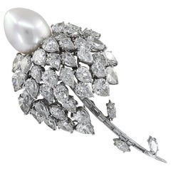 E.Pearl Diamond and Pearl Platinum Brooch or Pendant