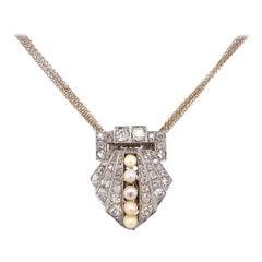 Diamond and Pearl Platinum Clip Pendant Necklace Estate Fine Jewelry