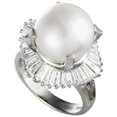 Diamond and Pearl Platinum Ring