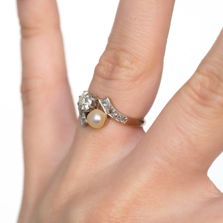 Diamond And Pearl Rose Gold Platinum Engagement Ring For
