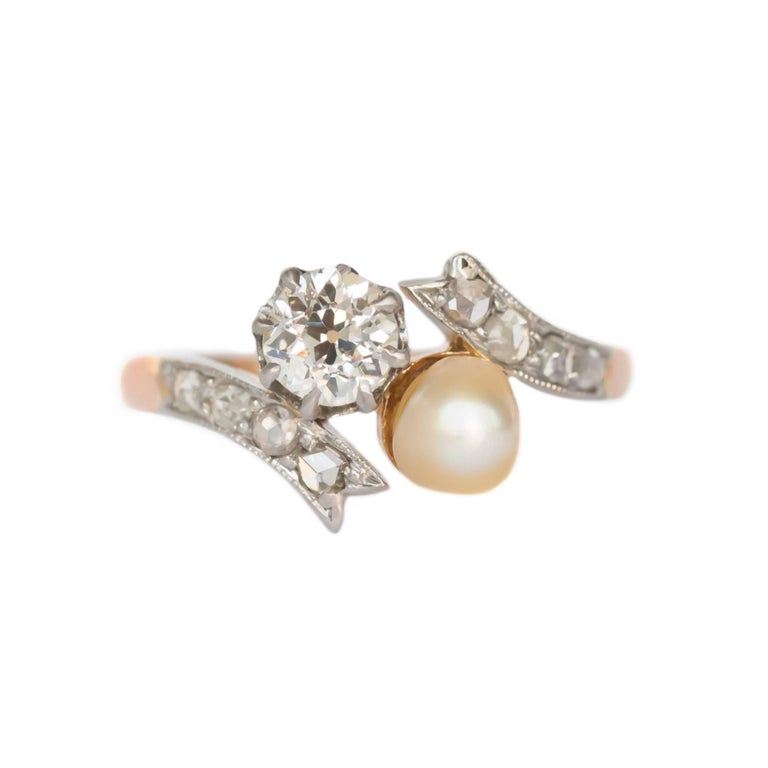 Diamond and Pearl Rose Gold Platinum Engagement Ring