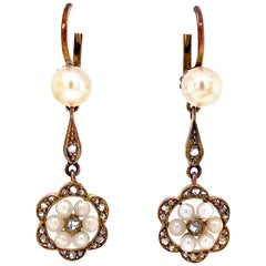 Diamond and Pearl Rose Gold Victorian Style Drop Earrings Fine Estate Jewelry