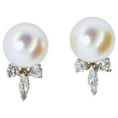 Diamond and Pearl Vintage Earrings, circa 1950