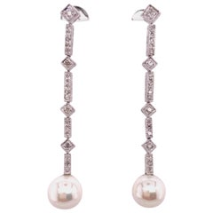 Diamond and Pearl White Gold Earrings