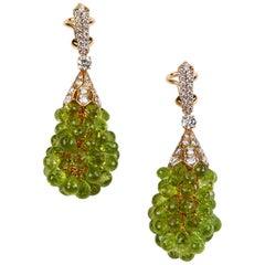 Diamond and Peridot Chandelier Earrings Rose Gold