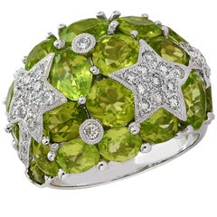 Diamond and Peridot Dome Star Ring