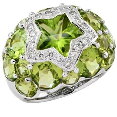Diamond and Peridot Ring